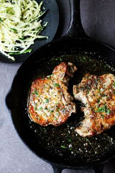 Brown Sugar Pork Chops with Garlic and Herbs are as delicious as they sound. The sweet brown sugar sauce is perfectly balanced by garlic and dried herbs like thyme and oregano. Juicy pork chops dish that comes together in no time.