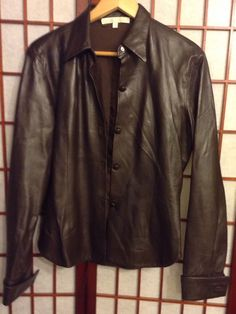 CHARLES CHANG-LIMA Dark Brown Metallic Leather Button Down Jacket Sz 8 #CharlesChangLima #ShortLeatherJacket