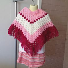 crochet Mexican poncho for girls crochet kids poncho pink