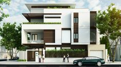 By Architects+ Two Stories House Elevation Ideas Bungalow Haus Design, Duplex House Design, House Front Design, Modern Bungalow Exterior, Modern Exterior House Designs, Modern House Design, Villa Design, Facade Design, Residential Architecture