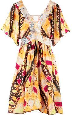 ShopStyle: Anna Sui Habotai-silk print dress