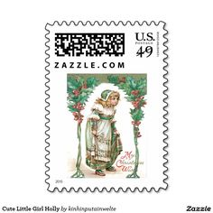 Cute Little Girl Holly Stamps