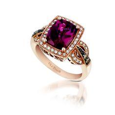 Le Vian ring showing off a Raspberry Rhodolite garnet.  Marshall Jewelry