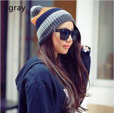 stripe beanie hat for women warm knit hats hit color design