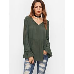 SheIn(sheinside) Army Green Contrast Crochet Trim Tassel Tie Top (£12) ❤ liked on Polyvore featuring tops, army green, vintage tops, long sleeve tops, olive green top, embellished tops and embellished v neck top