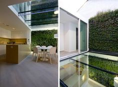 """This contemporary interior is a renovation by Rajiv Saini & Associates located in Knightsbridge, London, England. One important improvement is a glass floor that was added at street level to provide natural light to the basement.                   Knightsbridge Renovation by Rajiv Saini & Associates: """"The focus of this project was to make the basement more usable by improving the quality of spaces there. This we achieved by extending the basement by excavating the court at street level…"""