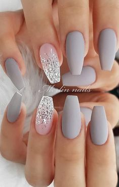 30 Fabulous Matte Nails Design For Short Nails - Page 9 of 30 - Latest Fashion Trends For Woman - short grey coffin nails, Matte short nails design, short nails acrylic, short square nails, almond - Short Nail Designs, Cute Nail Designs, Holiday Nail Designs, Ombre Nail Designs, Grey Matte Nails, Grey Nail Art, Matte Nail Art, White Nail, Silver And Pink Nails