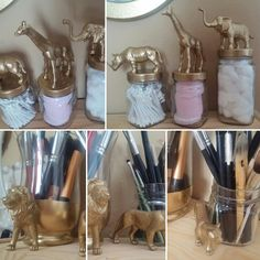 DIY cosmetic storage-Jungle Edition {All you need :glass jars , plastic animal toys, instant glue, hot glue gun , gold spray ... Voila !!!}