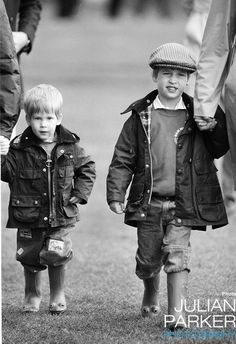 Prince William and Prince Harry at Cirencester Park Polo Club in June, 1987.