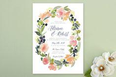 #WishBigWinBigGiveaway #wedding #registry Watercolor Wreath Wedding Invitations by Yao Cheng at minted.com
