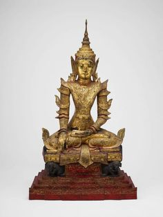 Crowned and Bejewelled Buddha Seated on an Elephant Throne, late century Gilded and lacquered wood with paint and colored glass x x cm x 33 x 19 in.) James W. and Marilynn Alsdorf Collection, Oriental, Buddha Figures, Buy Edibles Online, Empire Style, Buddhist Art, Art Institute Of Chicago, Sacred Art, Asian Art, Buddhism