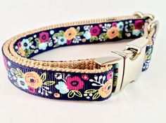 Navy Floral Medium Breed Dog Collar Female Dog by AJoyfulBird