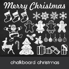 Christmas clipart: - christmas chalkboard - 26 chalkboard christmas cliparts, stockings, gifts, snowflakes,  glass balls and gingerbreads
