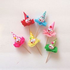 Bright Cheery Clown Cupcake Toppers by PartyPopPop on Etsy, $18.00