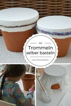Mit Kindern eine Trommel selber basteln {DIY} Instructions how to make a drum yourself with children. Homemade musical instruments that sound nice. Arts And Crafts For Teens, Diy For Teens, Diy Crafts For Kids, Kids Diy, Homemade Musical Instruments, Diy Y Manualidades, Cardboard Crafts, Fabric Crafts, Upcycled Crafts