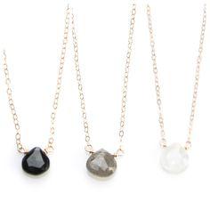 Teardrop Stone Necklace in Black Onyx, Labradorite and Moonstone  - NG31 by joydravecky on Etsy $44