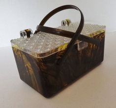 Vintage Tortoise Shell Lucite Purse with Clear Molded  Top