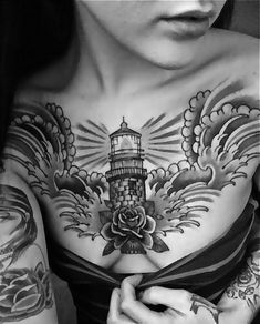 Women Chest With Lighthouse Tattoos, Lighthouse Tattoos For Women, Women Chest Decorative Lighthouse Tattoo, New Light House Design Tattoos