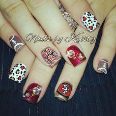 49ers nail art gallery nails pinterest 49ers nails nail 49ers nail art prinsesfo Images