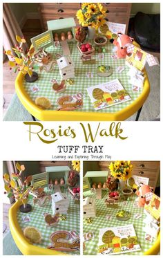Rosies Walk Tuff Tray Nursery Activities, Farm Activities, Easter Activities, Children Activities, Time Activities, Preschool Ideas, Tuff Spot, Rosies Walk, Story Sack