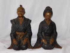 Antique Japanese Bronze Kneeling Samurai & Geisha Statues