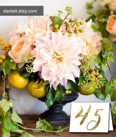 Free Faux Gold Foil Printable Table Numbers