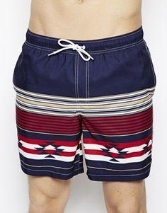 ASOS+Swim+Shorts+In+Mid+Length+With+Aztec+Print