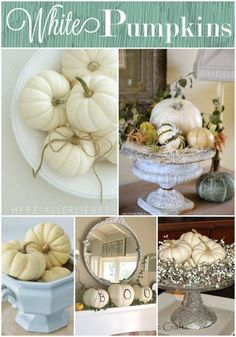 White Pumpkins and gourds in urn, could use your concrete urn from backyard? Put on hearth? Will the baby leave it alone? Or front porch?