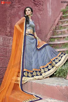 Women's Pretty Circular Lehenga Style in Gray Color. Message/call/WhatsApp at +91-9246261661 or Visit www.zinnga.com
