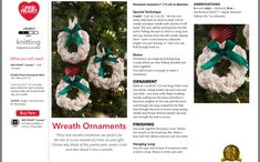 I Cord, Christmas Wreaths, Christmas Ornaments, Christmas Pudding, Stockinette, Christmas Knitting, Stitch, Holiday Decor, Pattern