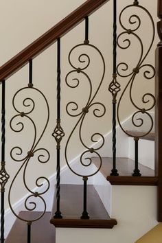 "Traditional Staircase with Flat Shoe for 1/2"" sq. Balusters - Small #ALM06, Walnut 6710 Solid Handrail"