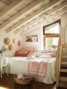 Girls Small Bedroom With Wooden Stairs Exposed Wooden Ceiling Beam Located In…