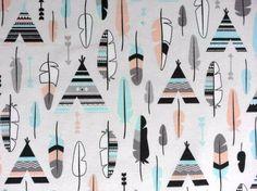Stoff grafische Muster - Dekostoff Skandinavischer Look Federn  Tippi - ein Designerstück von Wunderland-der-Stoffe bei DaWanda