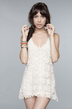 Crochet dress $35.00 and cute hair - Brandy Melville
