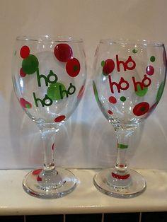 Christmas wine glass  Mommyslattefund etsy