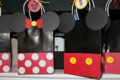 Mickey & Minnie Party Favor Bags I made for my daughter's 2nd birthday party