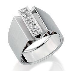 Anel de Ouro Branco 18K com Diamantes