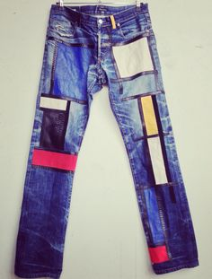 Mondrian style , YSL Tribute , customized jean by Lord SM Paris