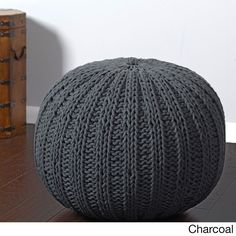 Sutton Hand-knitted Cable Pouf Ottoman