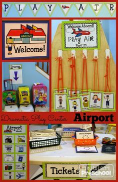 Go on a trip across the country or across the world when you take off from this Airport Dramatic Play Center for the Early Childhood Classroom! Dramatic Play Themes, Dramatic Play Area, Dramatic Play Centers, Preschool Dramatic Play, Airport Theme, Transportation Unit, Role Play Areas, Little Presents, Play Based Learning