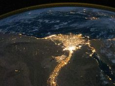 The Nile River Delta at night, taken from space.