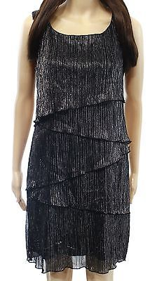 Connected Apparel NEW Black Womens Size 12P Petite Metallic Tiered Dress $79 196 | eBay