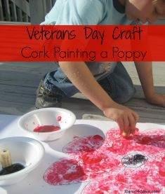 Veterans Day Craft- Cork Painted Poppy: We created this poppy after reading the book The Poppy Lady. It is a wonderful book about how the poppy became associated with Veterans Day. Memorial Day Activities, Remembrance Day Activities, Remembrance Day Art, Veterans Day Activities, Craft Activities, Preschool Crafts, Toddler Activities, Projects For Kids, Crafts For Kids