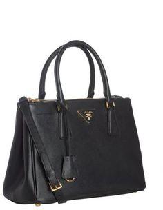 ShopStyle: Prada black saffiano leather 'Lux' convertible shoulder bag