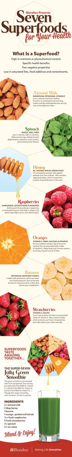 Seven Superfoods For Your Health Infographic