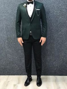 Green Tuxedo, Green Suit, Blazer Fashion, Mens Fashion, Royal Green, Tuxedo For Men, Wedding Suits, Satin Fabric, Mens Suits