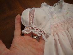 Sweet sleeve treatment: lace insertion, beading/edging, yoke dress with smocking