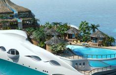 La reproduction d'une île tropicale sur un yacht, le Tropical Paradise Island  http://journalduluxe.fr/yacht-ile-tropicale/