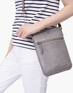 Mayfair Grey Croc Leather Bag , Size One Size | Joules UK