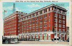 Bartlesville Oklahoma OK 1920s Phillip Building First National Bank Postcard Bartlesville Oklahoma OK 1920s Phillip building and First National Bank. Used E. C. Kropp collectible antique vintage postc